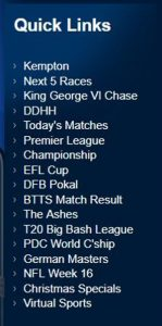 Betfred Quick Links