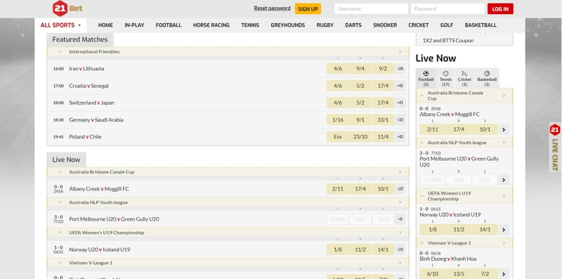 21Bet Site Example