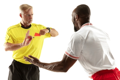 Angry Football Player Red Card