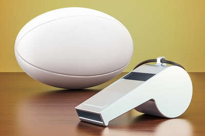 Rugby Ball and Whistle