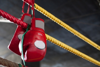 Boxing Gloves on Ropes