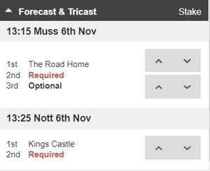 Forecast Tricast Betslip